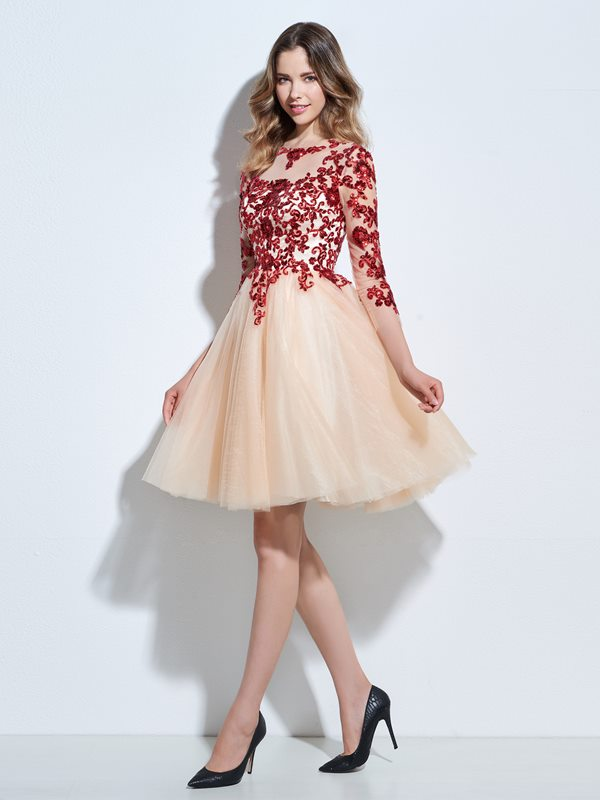 Ericdress A-Line Scoop 3/4 Length Sleeves Appliques Sequins Knee-Length Cocktail Dress