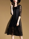 Ericdress Double-Layer A-Line Patchwork Casual Dress