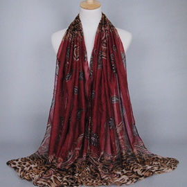 Ericdress Color Block Print Voile Scarf