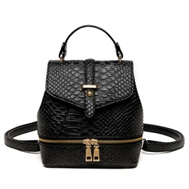 Ericdress Casual Solid Color Croco-Embossed Backpack