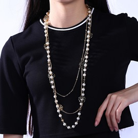Ericdress Multilayer Pearls Flower Necklace