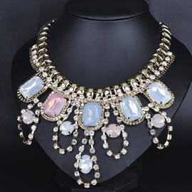 Ericdress Colorful Gemstones Decorated Alloy Necklace