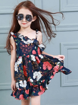 Ericdress Stylish Asymmetric Backless Floral Falbala Girls Dresses