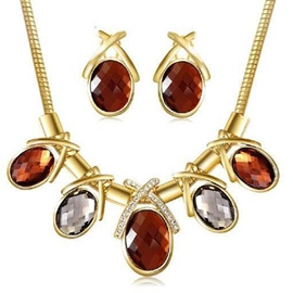 Ericdress Graceful Oval Gemstones Alloy Jewelry Set
