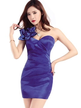 Ericdress Pleated Flower Decorated Sexy One Shoulder Fashion Clubwear