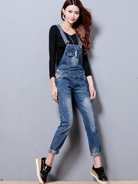 Ericdress Simple Worn Denim Suspender Pants