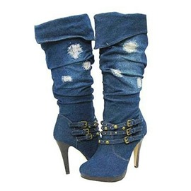 Ericdress Denim Blue Knee High Boots with Buckles