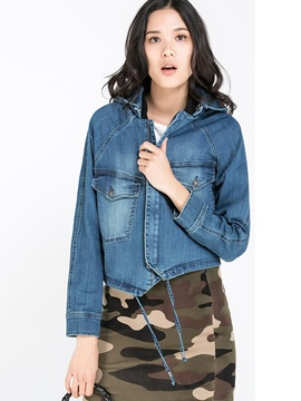 Ericdress Loose Hooded Denim Outerwear
