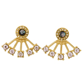 Ericdress Fan Shaped Diamante Stud Earrings