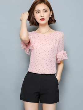 Ericdress Polka Dots Flare Sleeve Blouse