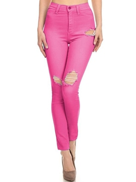 Ericdress Solid Color Skinny Hole Jeans