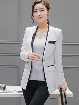 Ericdress One-Button Color Block Slim Blazer