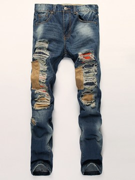 Ericdress Patchwork Holes Denim Casual Men's Jeans