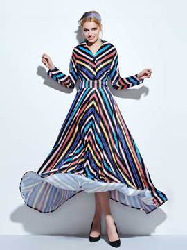 Ericdress Stripe Lapel Single-Breasted Vintage Maxi Dress