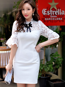 Ericdress White Lace Patchwork Sheath Dress