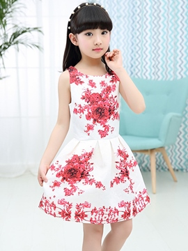 Ericdress Print Pleated Sleeveless Girls Dress
