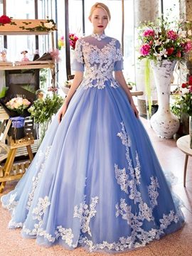 Ericdress High Neck Ball Gown Short Sleeves Lace Court Train Quinceanera Dress