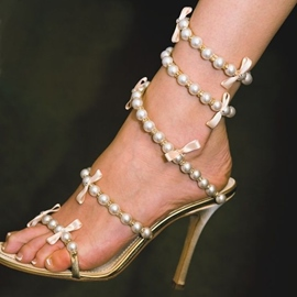 Ericdress Bead Open Toe Stiletto Sandals