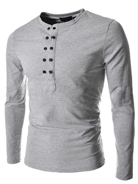 Ericdress Double-Breasted Slim Casual Men's T-Shirt