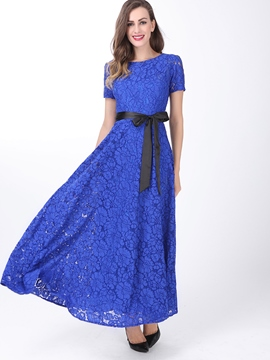 Ericdress Short Sleeve Soild Color Lace Maxi Dress