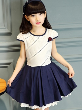 Ericdress Pleated Short Sleeve Girls Dress