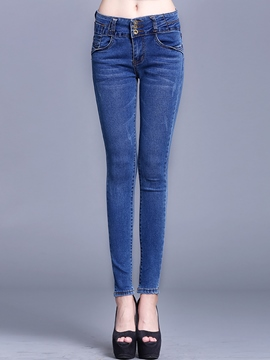 Ericdress Skinny Solid Color Jeans