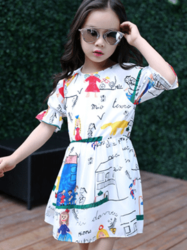 Ericdress Graffiti Printed Pleated Half Sleeve Girls Dresses