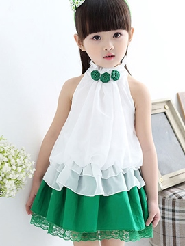 Ericdress Pleated Sleeveless Patchwork Girls Outfit