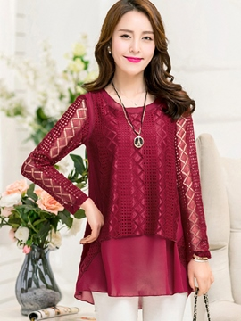 Ericdress Double Layer Lace Overlay Blouse