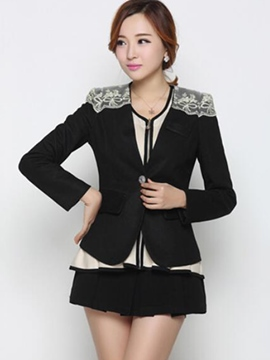 Ericdress Slim Lace Patchwork Blazer