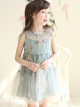 Ericdress Falbala Neck Mesh Pleated Floral See-Through Printed Girls Dresses