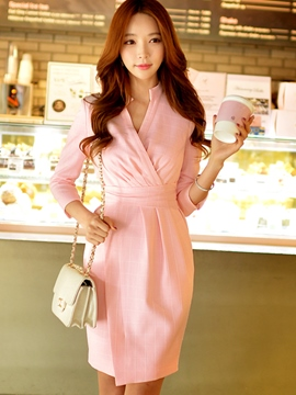 Ericdress Soild Color Three-Quarter Sleeve Sheath Dress