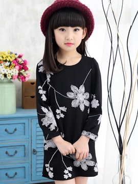 Ericdress Long Sleeve Floral Girls Dress