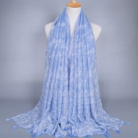 Ericdress Light Blue Floral Print Scarf
