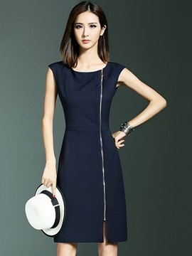 Ericdress Solid Color Zipper Patchwork Sheath Dress