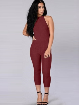 Ericdress Solid Color Halter Backless Jumpsuits Pants