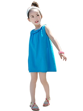 Ericdress Solid Color Casual Girls Dress