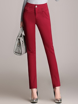 Ericdress Solid Color High-Waist Casual Pants