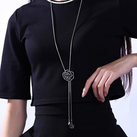 Ericdress Black Flower Diamante Necklace