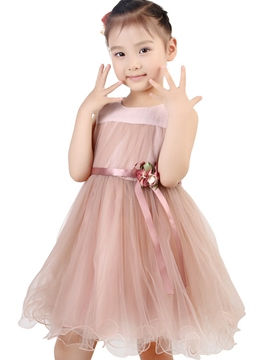 Ericdress Mesh Pleated Girls Dress