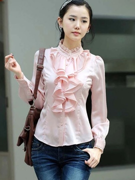 Ericdress Solid Color Frill Blouse
