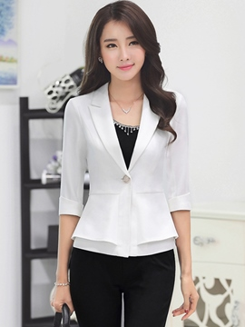 Ericdress Solid Color Polo Slim Formal Blazer