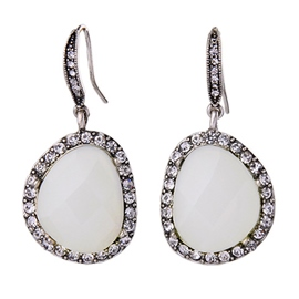 Ericdress White Gemstone Pendant Earrings