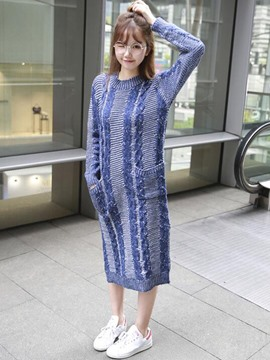 Ericdress Round Neck Straight Korean Style Sweater Dress