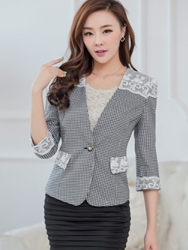 Ericdress Lace Patchwork Plaid Blazer
