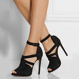 Ericdress Chic Suede Peep Toe Stiletto Sandals