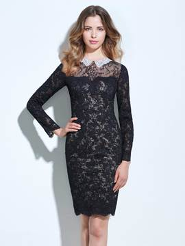 Ericdress Scoop Column Long Sleeves Beading Lace Cocktail Dress