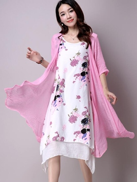 Ericdress Asymmetric Chinese Print Dress Suit