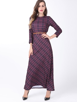 Ericdress Plaid Three-Quarter Sleeve Round Neck Maxi Dress