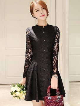 Ericdress Lace Single Breasted Little Black Dress